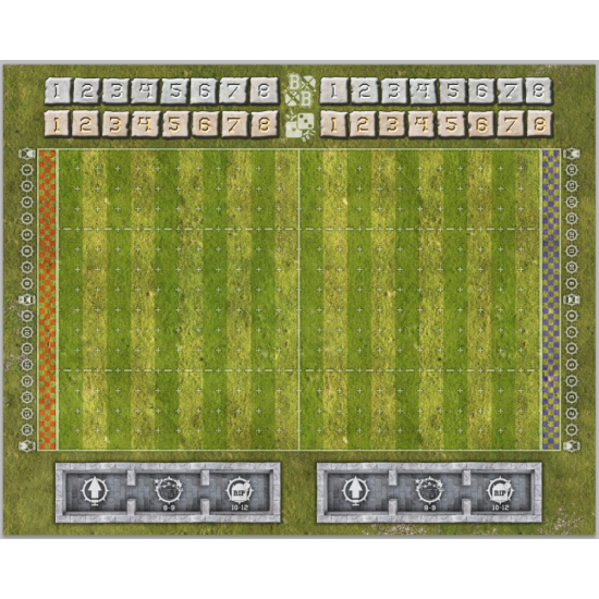 Blood Bowl игровое поле с расширением. Playmat BloodBowl with trackers.